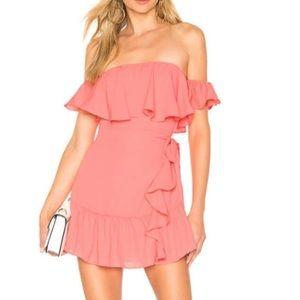 Super down mini wrap dress